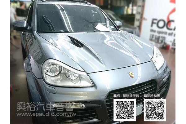 【Porsche 保時捷】Cayenne turbo 安裝專款安卓螢幕主機 數位 倒車鏡頭 光纖盒